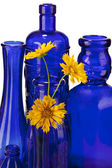 кобальт синий бутылки с желтыми цветами, изолированные на белом фоне — Стоковое фото