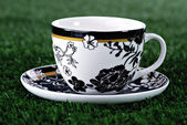 Coffee cup and saucer in grass — Stock Photo
