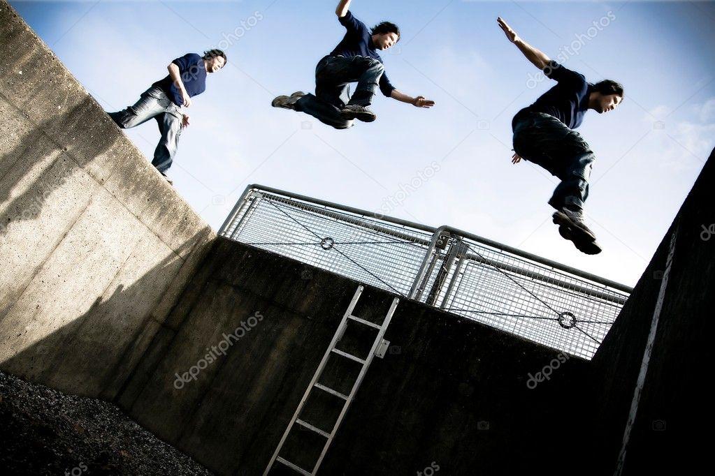 Parkour jump — Stock Photo © jacoblundphoto #5246206