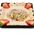 Musli breakfast with strawberries and banana — Stock Photo