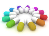 Many-colored capsules — Stock Photo