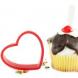 Sundae Cupcake with Red Heart — Stock Photo