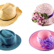 Hats Collage On White Background — Stock Photo