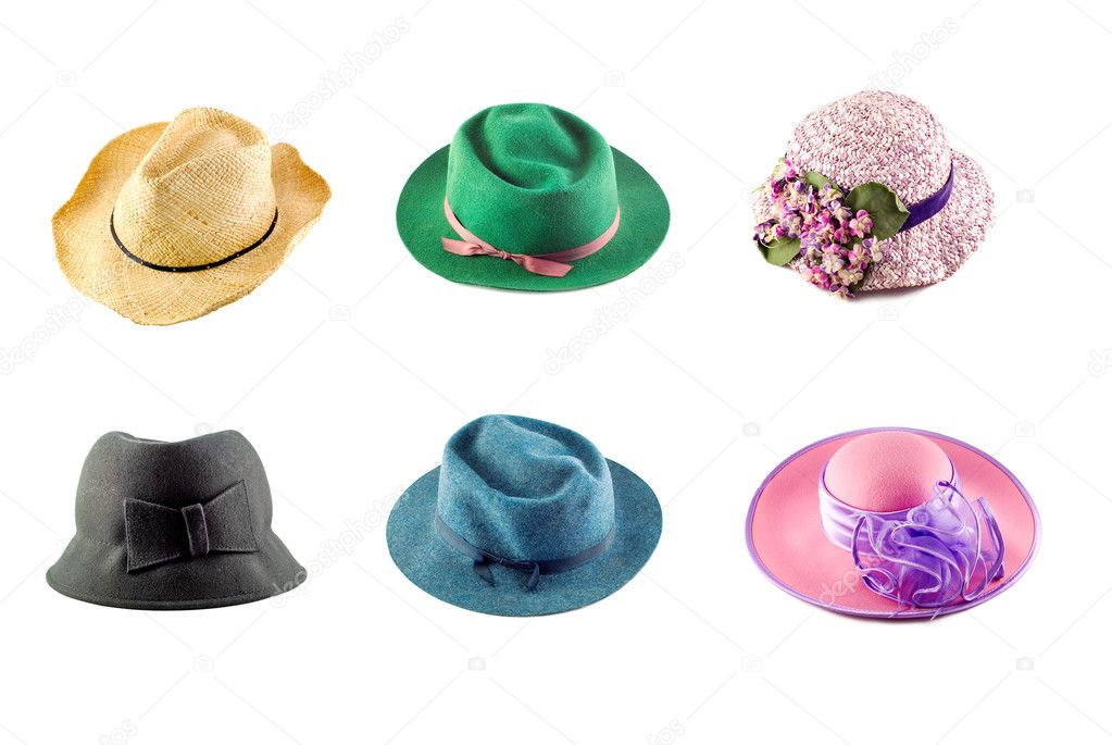 A collage of an assortment of six hats on a white background  Stock Photo #5303313
