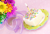 Birthday Cake with One Candle — Stock Photo