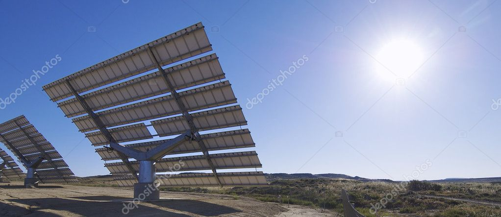 Solar field with blue sky — Stock Photo #5336644