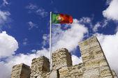 Bir direk üzerinde portekiz bayrağı — Stok fotoğraf