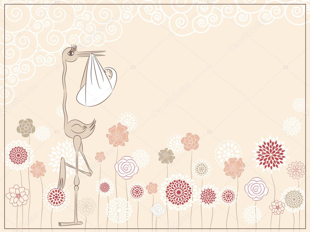 Illustration of stork with baby in pastel colors — Stock Vector #5358055