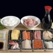Traditional Japanese table with seafood — Stock Photo