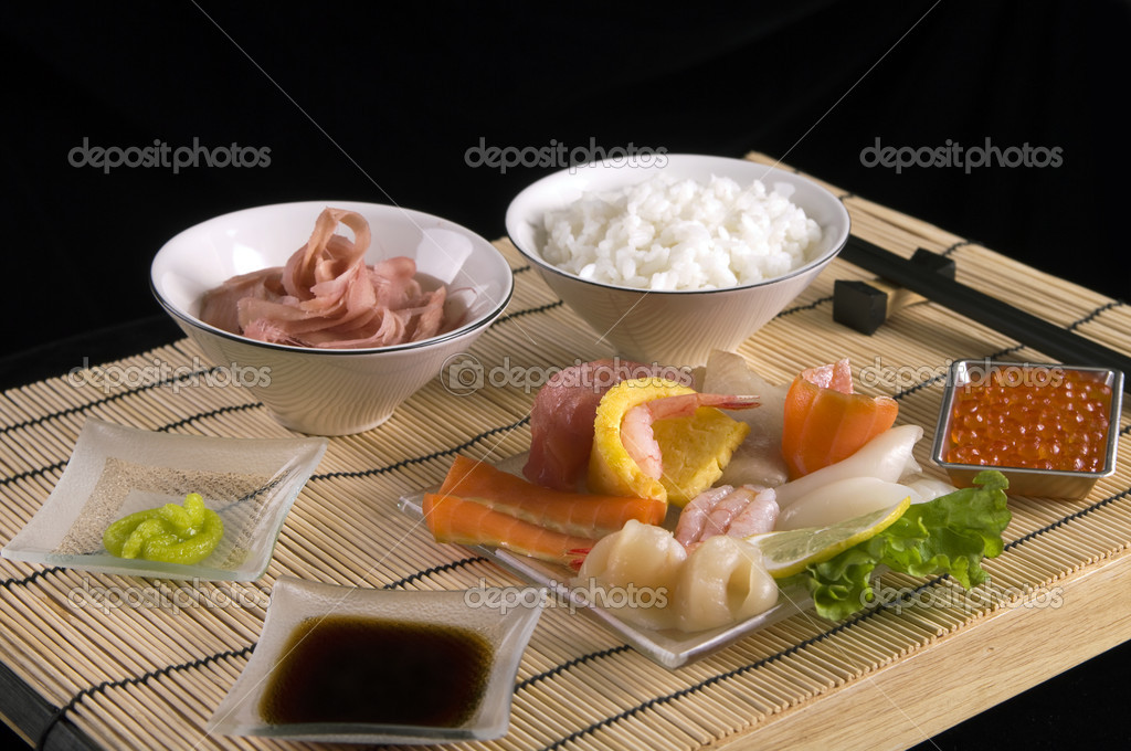 Japanese  Sashimi table appointments  with marinaded ginger — Stock Photo #5275306