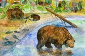 Bears on fishing — Stock Photo