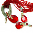 Royalty-Free Stock Photo: Necklace and earrings with red stone and snake.