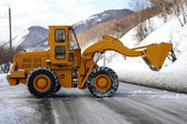 Yellow wheel front loader — Stock Photo