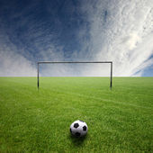Football pitch with ball — Stock Photo