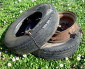 Discarded car tyres — Stock Photo