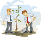 Two men planted an oak — Stock Vector