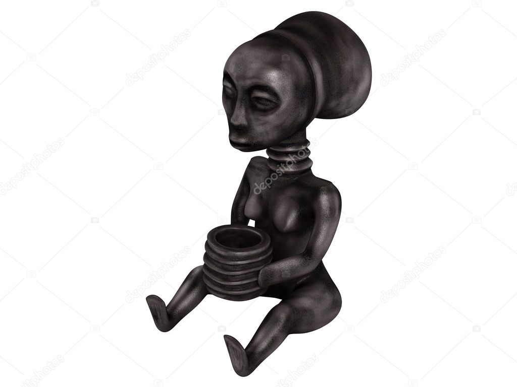 Old african statuette isolated on white background  Stock Photo #5360317