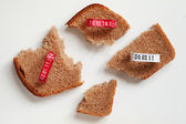 Four pieces of bread slice and seals — Stock Photo