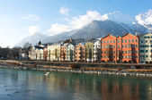 Houses in the historical city Innsbruck in Tirol — Stock Photo