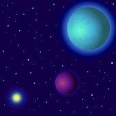 Espacio, los planetas y el sol — Vector de stock