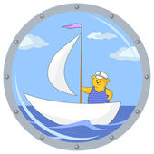 Teddy bear on ship in a porthole — Stock Vector