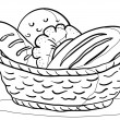 Stock Vector: Bread in basket, contour