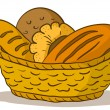 Stock Vector: Bread in basket
