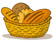 Bread in a basket — Stock Vector