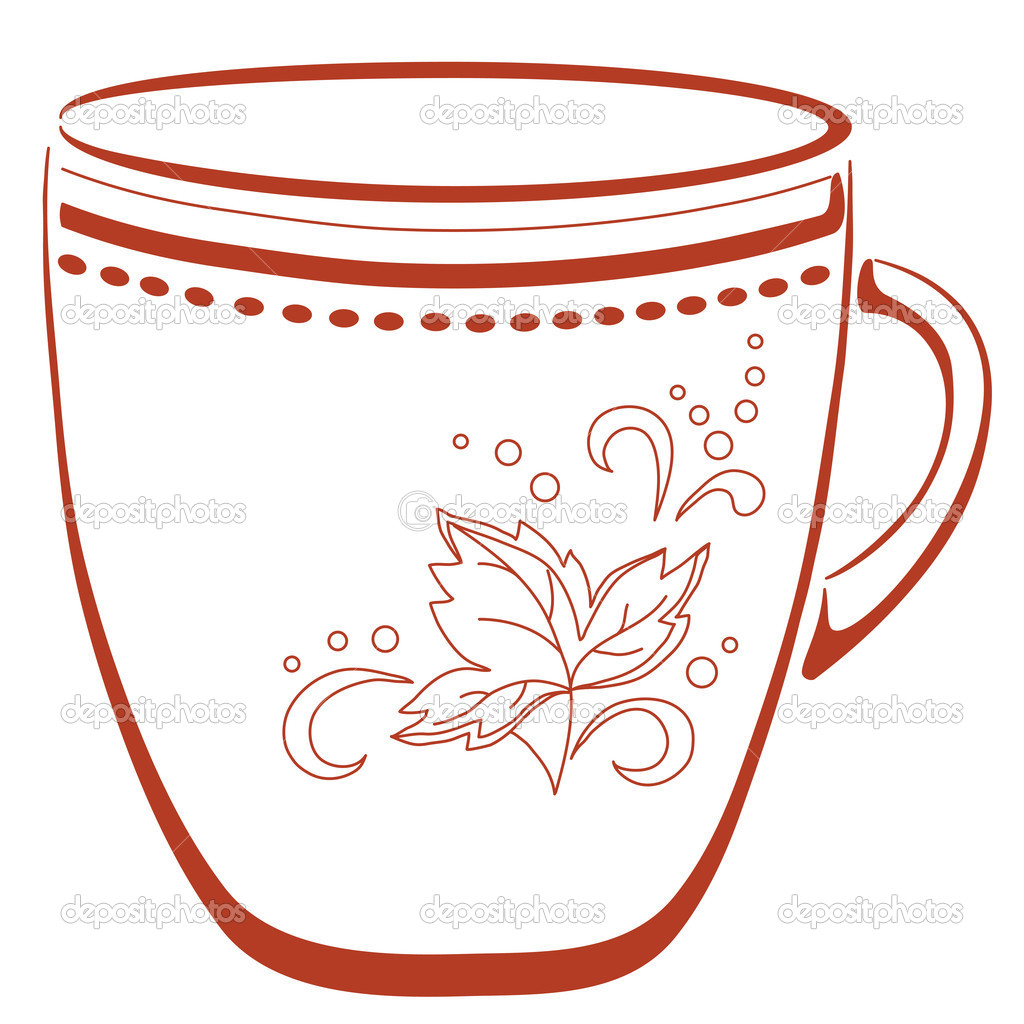 China cup with a pattern from circles and leaf, pictogram  Stock Vector #5354513