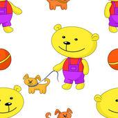 Seamless background, teddy-bear with dog — Stock Vector