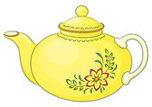 Teapot with flower pattern — Stock Vector