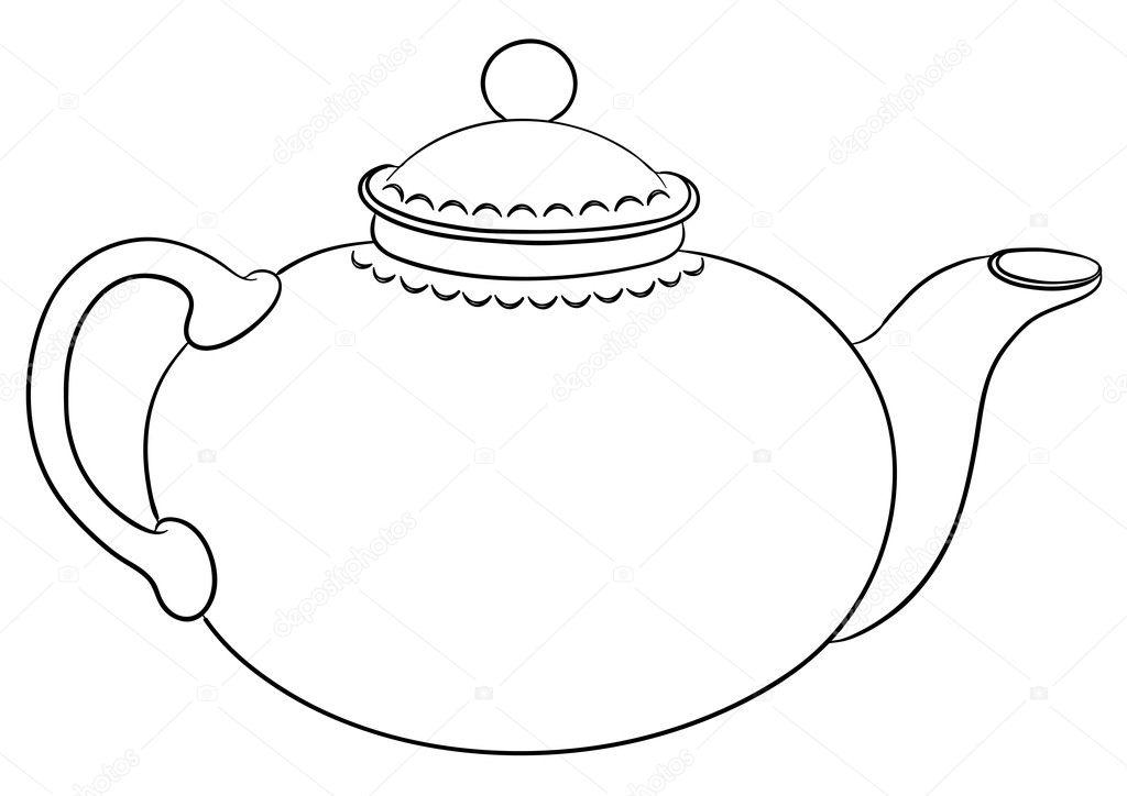 Картинки раскраски чайника