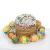 Hand painted easter eggs and kulich — Stock Photo