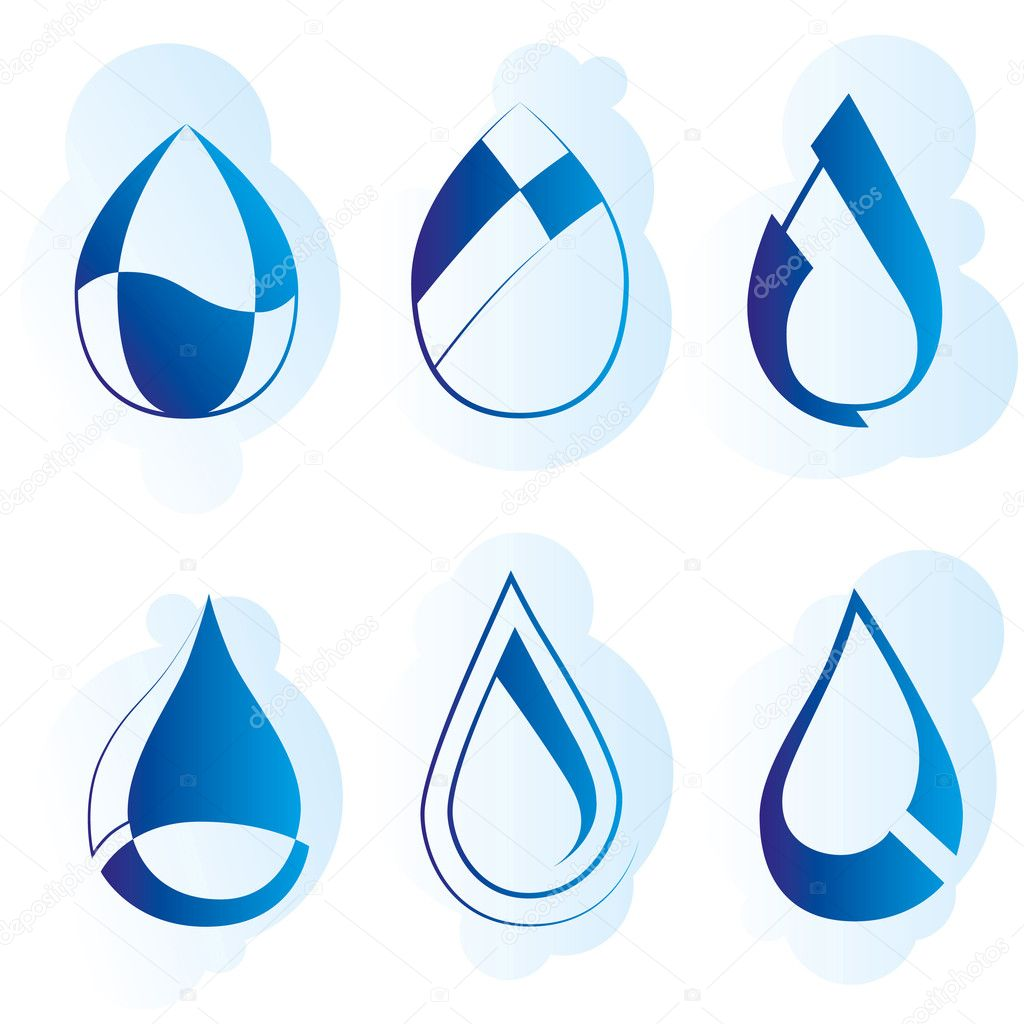 Vector set of stylish blue drop's logo — Stock Vector #5373535