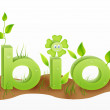 Bio text word with grass illustration — 图库照片