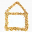 Stock Photo: Eco house shape from wood chips