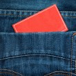 Pocket and red paper note — Stock Photo