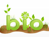 Bio text word with grass illustration — Stock Photo