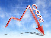 Graph with oops word — Stock Photo