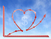 Love money graphic hearth form — Stock Photo