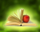 Book with red apple — Stock Photo