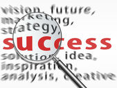 Magnifying glass over success text — Stock Photo