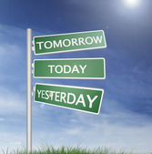 Direction sign with Tomorrow, Today, Yesterday text — Stock Photo