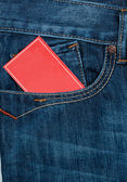 Red paper in pocket — Stock Photo