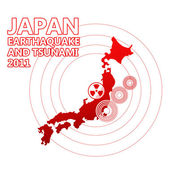 Japan map and seismic epicenter — Stock Photo