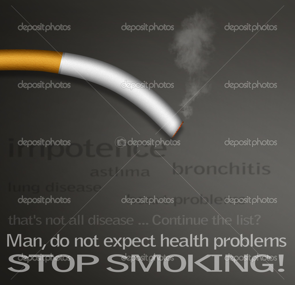 Stop smokin campaign posters with a list of diseases caused by smoking — Stock Photo #5343122