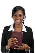 Christian counsellor holding a bible — Stock Photo