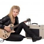 Rock Girl Playing An Electric Guitar — Stock Photo
