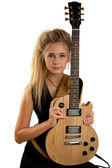 Rock Girl Playing An Electric Guitar — Stock Photo
