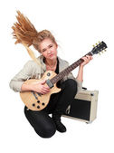 Passionate rock Girl Playing An Electric Guitar — Stock Photo
